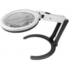 Lupa dubla, cu iluminarea perim. vizual, 10 LED-uri, cu suport