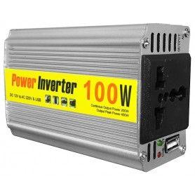 Invertor de tensiune, 12V - 220V - 100W + 5V, USB