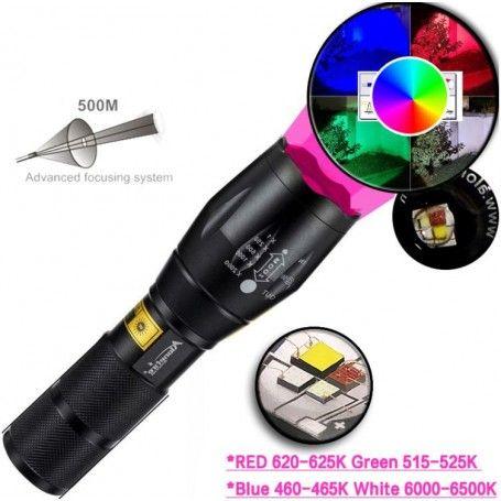 Lanterna multicolor 4 in 1, puternic, focalizarea luminii, vanatoare, pescuit